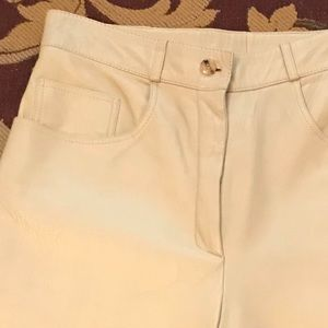 Denim - Taupe leather jeans, slim leg